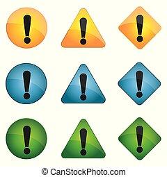 ikone, gelber , wohnung, ausruf, satz, style., blaues, markierung, grün