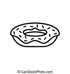 ikone, grobdarstellung, freigestellt, hintergrund., einfache , vektor, donut, weißes