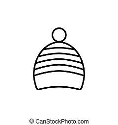 ikone, grobdarstellung, freigestellt, hintergrund., einfache , vektor, hut, weißes