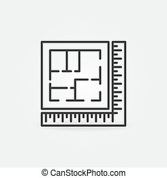 ikone, haus, vektor, linie, lineal, plan, architektur