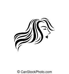 ikone, logo, haar, vektor, salon
