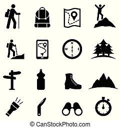 ikone, satz, freizeit, wandern, erholung