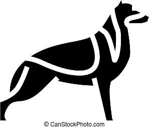ikone, schafhirte, linie, deutsch, hund, abbildung, vektor