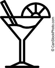 ikone, scheibe, martini, limette, stil, grobdarstellung, glas