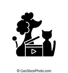 ikone, schwarz, glyph, haustier, videos