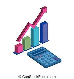 ikone, taschenrechner, freigestellt, statistisch, stäbe, mathe