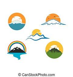 ikone, vektor, berg, abbildung, design, hoch