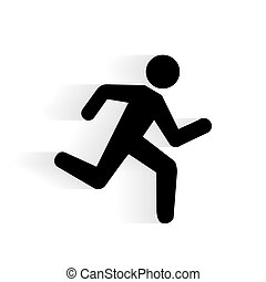 ikone, vektor, rennender , menschliche