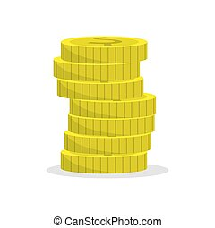 ikone, weißes, stapel, wohnung, einfache , farbe, münzen., hintergrund
