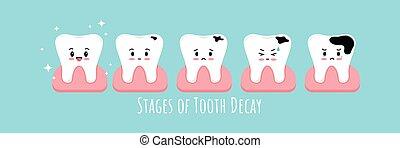 ikone, zahnfleisch, verfall, zahn, set., stadien