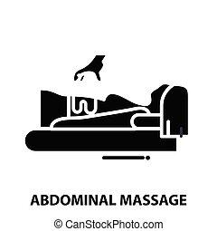 ikone, zeichen, schläge, editable, schwarz, vektor, abdominal, begriff, abbildung, massage