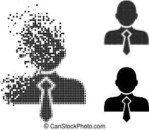 ikone, zerrissen, pixel, mann, halftone, buero