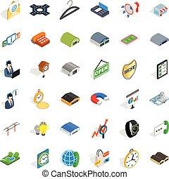 Ikonen für Verbraucheraktivität eingestellt, isometrischer Stil