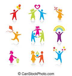 Ikonen - Silhouette-Familie. Frau, Mann, Kind, Kind, Junge, Mädchen, Vater, Mutter, Elternsymbol. Menschenvektor.