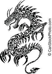 Ikonischer Drachen-Tätowierungsvektor