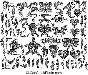 Ikonisches Tattoo-Tätowierungs-Vektorset