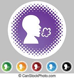 Illness halbtone icon Set