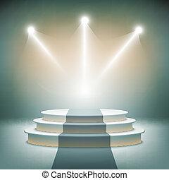 Illuminated Bühne Podium für Preisvektoren.