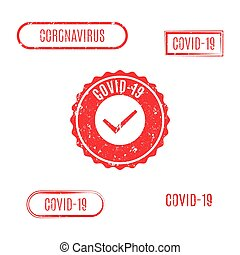 illustration., briefmarke, vektor, coronavirus, satz