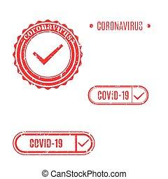 illustration., coronavirus, briefmarke, vektor, satz