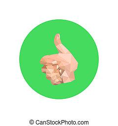 Illustration der abstrakten Origami-Hand auf grünem Kreis.