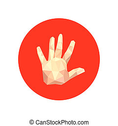Illustration der abstrakten Origami-Hand auf roten Kreis.