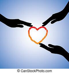 Illustration der Heilung von gebrochenem Herzen. Die Grafik zeigt, dass unterstützende Hände helfen, sich von emotionalem Schmerz und Trauma zu erholen