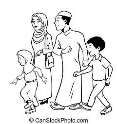 Illustration der moslimischen Familie waliking - Vektorhand gezeichnet