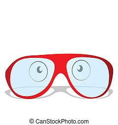 Illustration der roten Brille.