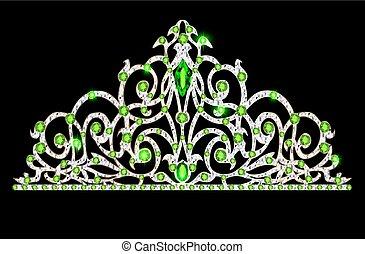 Illustration der Tiara-Kronen Hochzeit mit grünen Steinen.