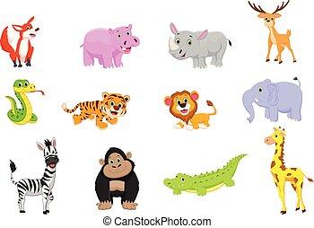 Illustration der Tiere Zeichentrickserie.