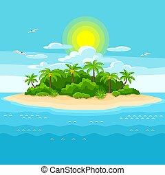 Illustration der tropischen Insel im Ozean. Landschaft mit Ozean und Palmen. Reisehintergrund