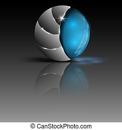 Illustration des blauen farbigen Kugel-Logos.