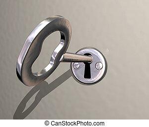 Illustration des glänzenden silbernen Schlüssels wird in Verschluss verwandelt