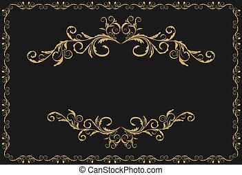 Illustration des luxuriösen Goldmusters, Zierdegrenzen