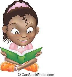 Illustration des süßen schwarzen Mädchens Buch