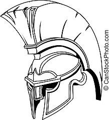 Illustration des spartanischen romanischen Greek-Trojan oder Gladiatorenhelm