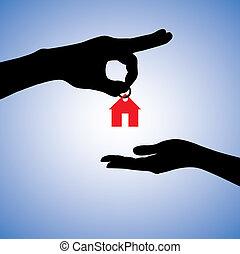 Illustration des Verkaufs oder Geschenkhauses in Immobilien