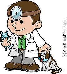 Illustration des Veterinärs mit Tieren