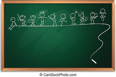 Illustration einer Tafel mit einer Zeichnung von Menschen, die verschiedene Aktivitäten auf einem weißen Hintergrund.