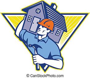 Illustration eines Bauarbeiters mit einem Hammer, der Haus auf Schultern trägt, in einem Dreieck, das im Retro-Stil durchgeführt wird.