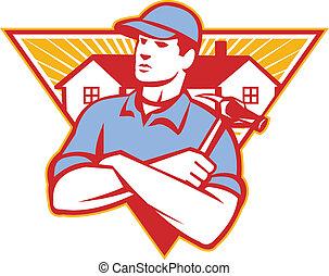 Illustration eines Bauarbeiters mit Hammerarmen, gekreuzt mit Haus im Hintergrund, das im Retro-Stil in einem Dreieck steckt.