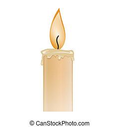 Illustration eines brennenden Kerzenwachses