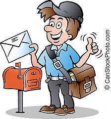 Illustration eines glücklichen Postboten.