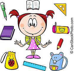 Illustration eines Mädchens mit Schulsachen.