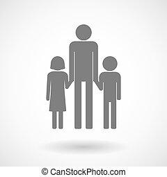 Illustration eines männlichen Alleinerziehenden Familienbildes.