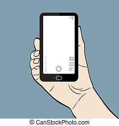 Illustration eines Mannes mit Telefon.