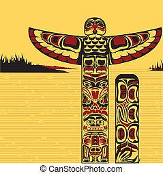 Illustration eines nordamerikanischen Totemmasts