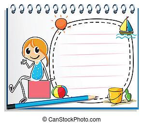 Illustration eines Notizbuchs und eines Bleistifts mit einem Bild eines Mädchens, das auf einer Kiste auf weißem Hintergrund sitzt.