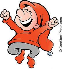 Illustration eines sehr glücklichen Elfen